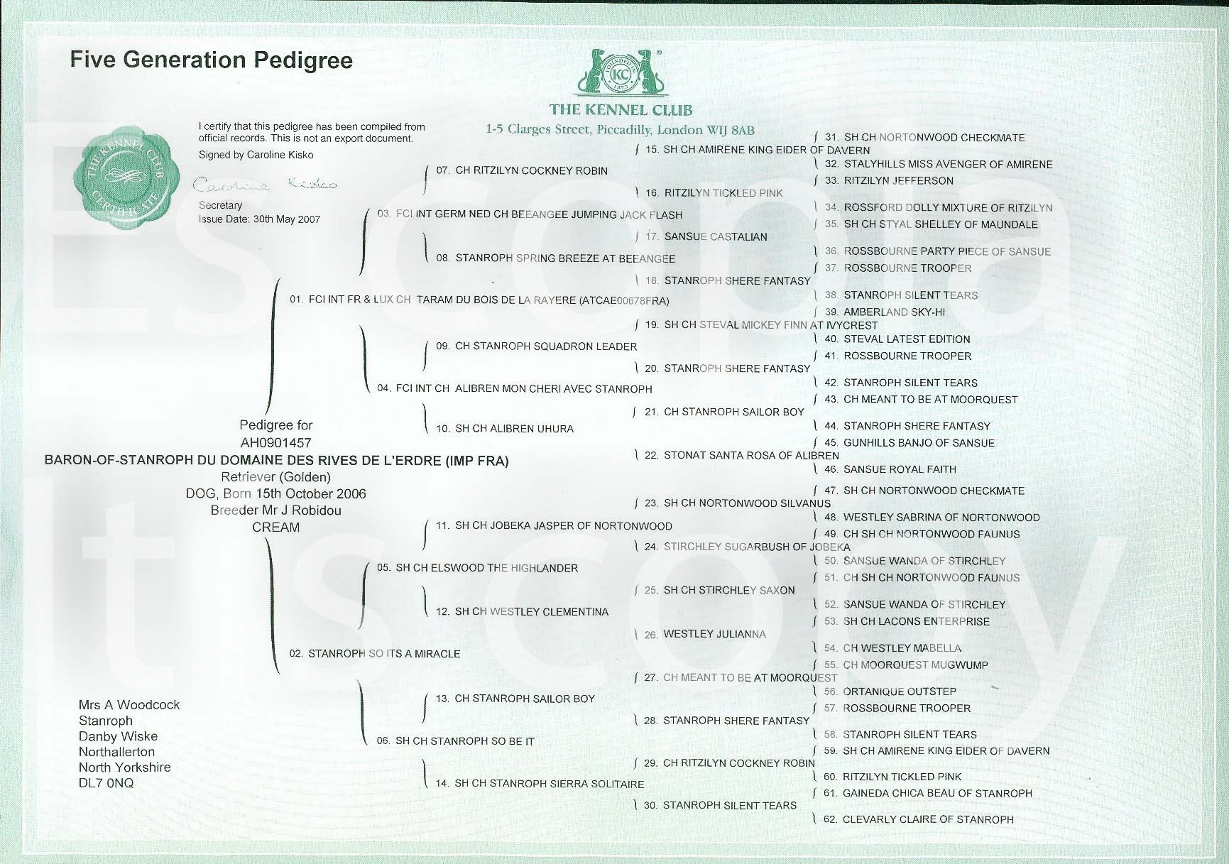 baron 5 generation pedigree